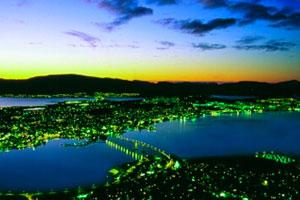 Oversiktsbilde Tromsø lys i mørket
