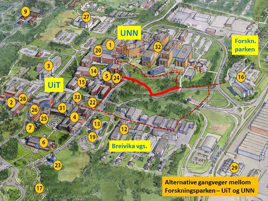 unn tromsø kart Alternative gangveier mellom UiT/UNN og Forskningsparken   UiT unn tromsø kart