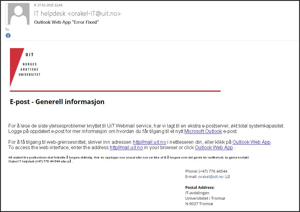 6e82ceecb SPAM! Fake e-post fra Orakel-IT - Outlook Web App