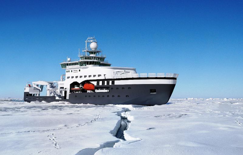 """""""Kronprins Haakon"""" er et høyteknologisk forskningsskip som kan ta seg fram gjennom is. Illustrasjon: Havforskningsinstituttet"""
