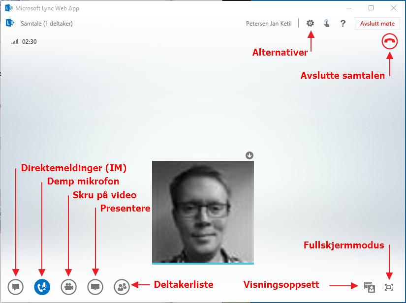 Oversiktsbilde over samtalevinduet i Skype Web App. Viser alle knapper og menyplasseringer.