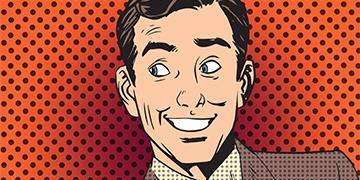tegning av 50 talls mann som smiler