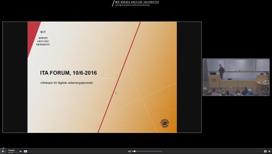 powerpoint og video fra kamera på undervisningsrom