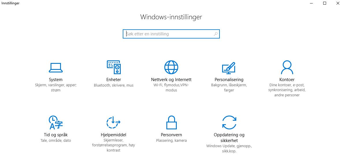 Innstillinger i Windows 10
