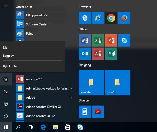 windows 10 brukernavnmeny