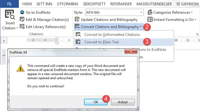 EndNote X8 Convert to plain text
