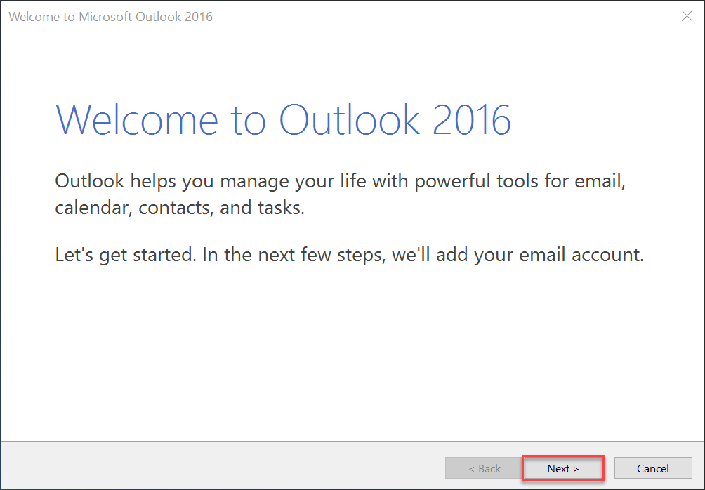 outlook konfigurer