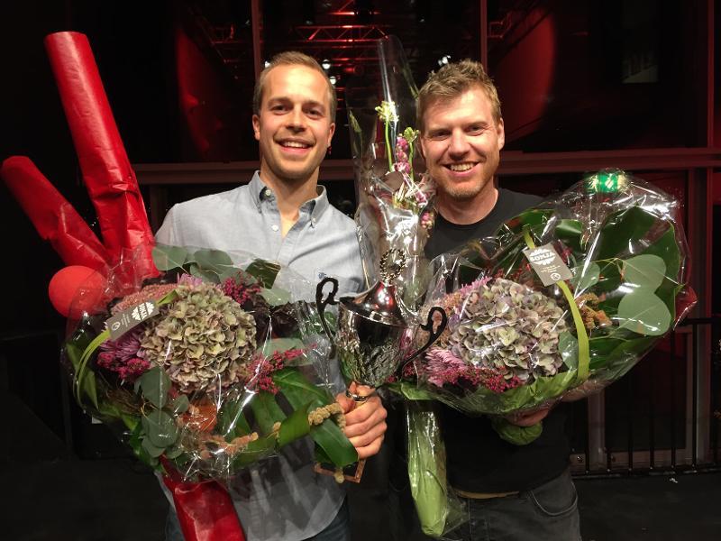 Torbjørn Øygard Skodvin (t.v.) og Morten Svendsen Næss skal representere UiT i den nasjonale finalen i Trondheim.