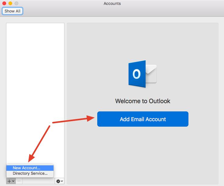 Fra Preferanser i Outlook. Legg til ny konto.