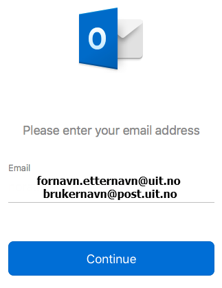 Legg til UiT epost i Outlook på Mac