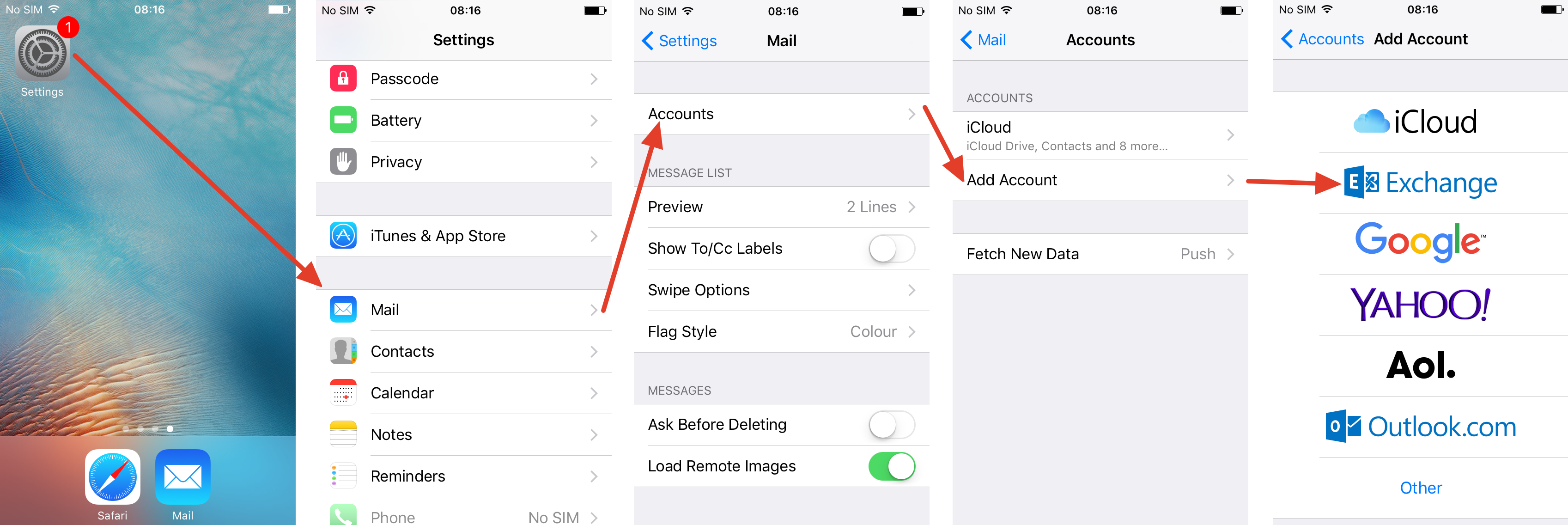 The first steps for setting up an Exchange email account on an iPhone