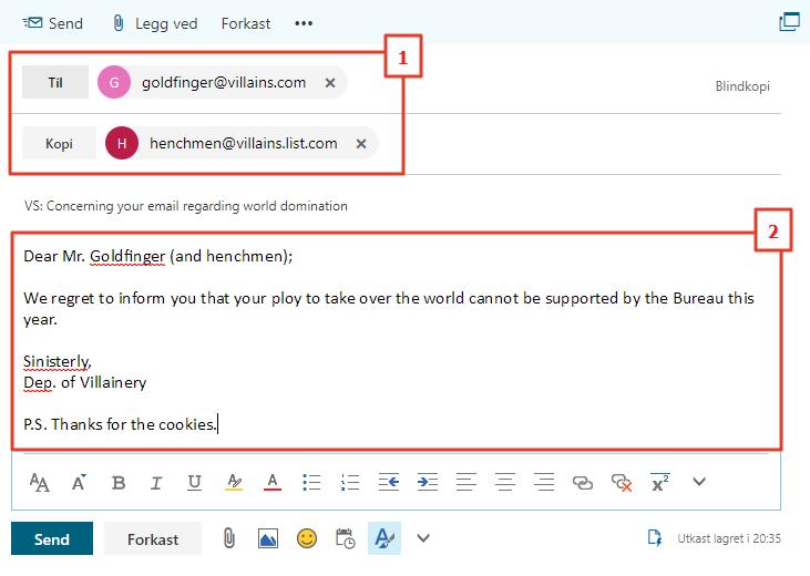 Skriv ny epost i Outlook Web App