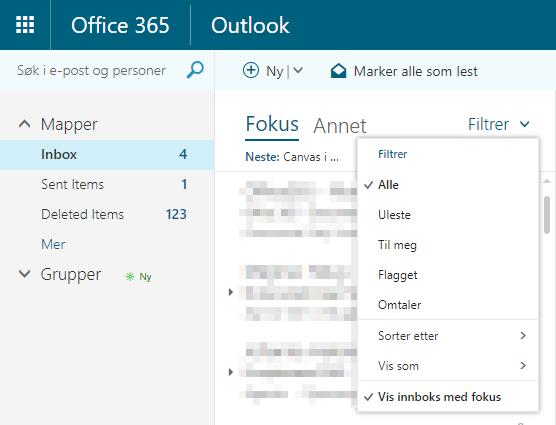 Filtreringsmuligheter i Outlook web app