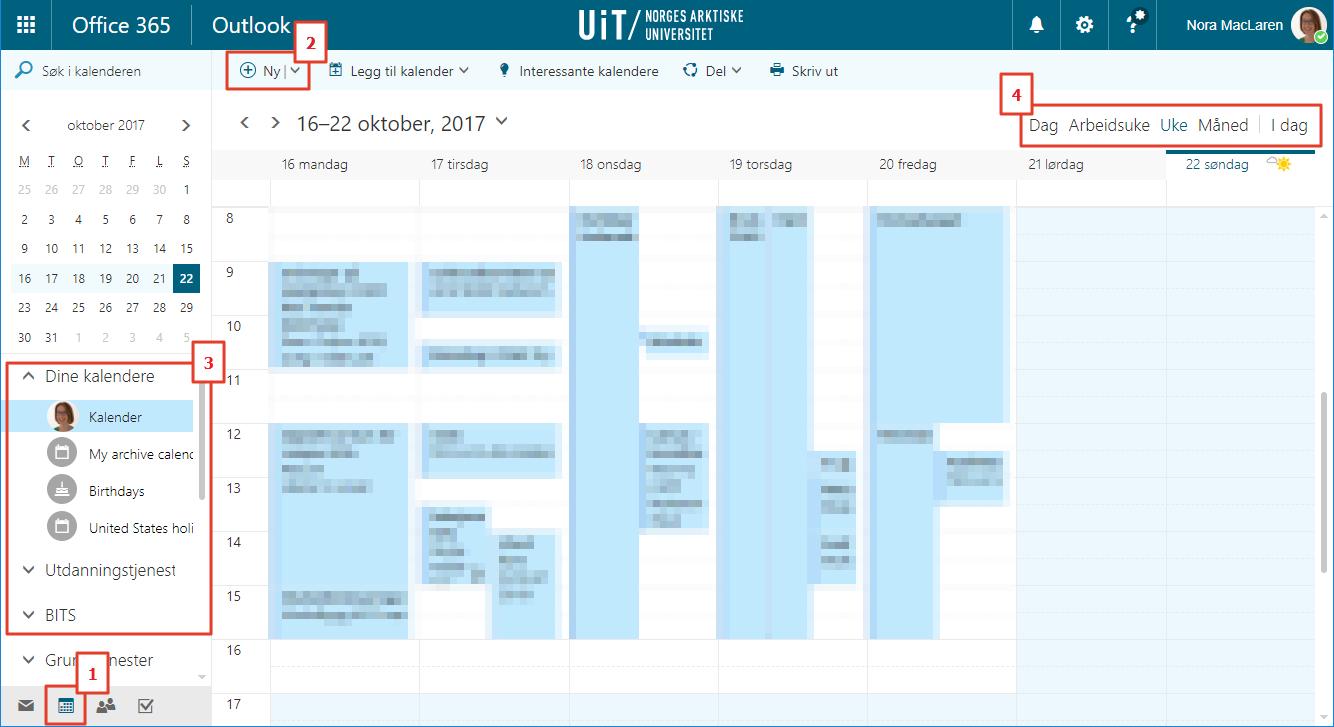 Kalender innstillinger i Outlook web app
