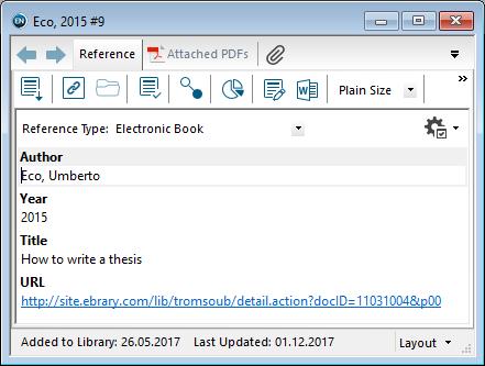 Utfylling av felter i EndNote: E-bok
