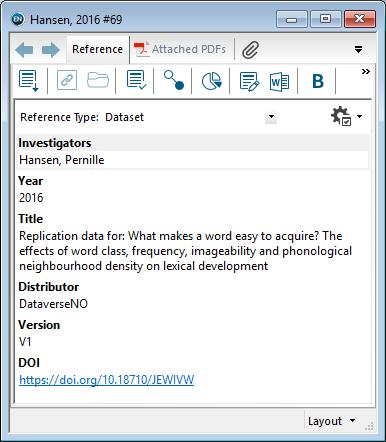 Utfylling av felter i EndNote: Datasett