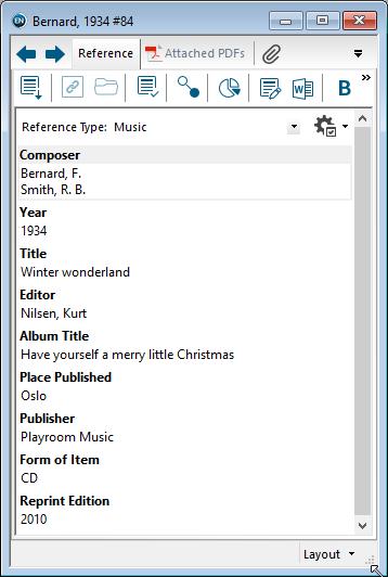 Utfylling av felter i EndNote: Musikk CD/LP