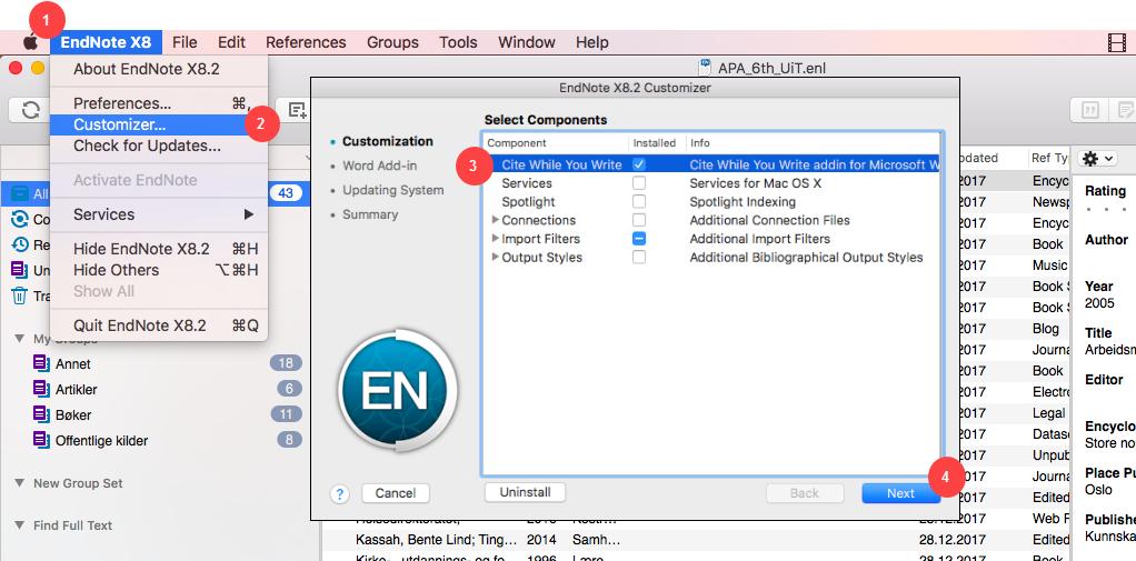 Manglende verktøylinje/fane i Word for Mac - Customizer del 1