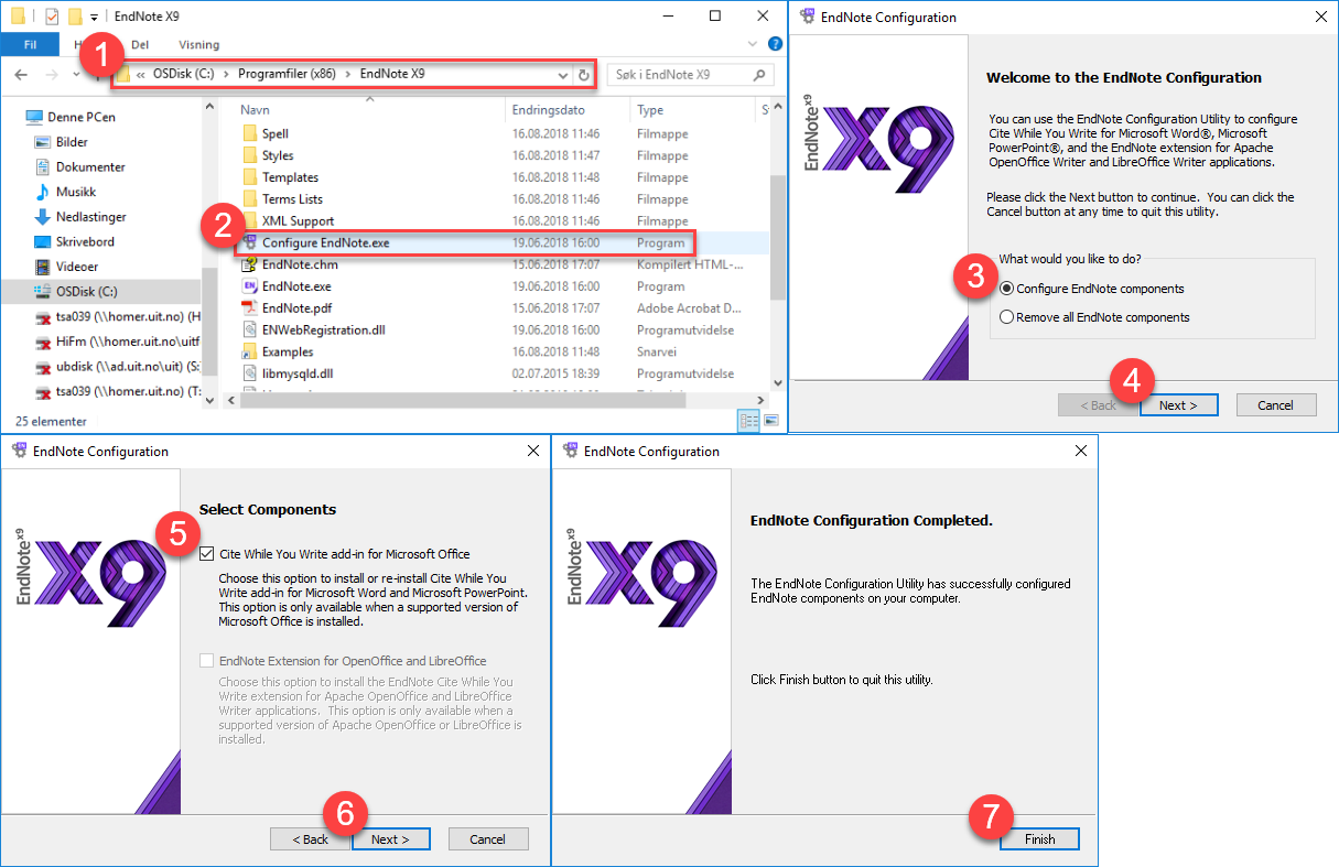 EndNote X9: Configure EndNote.exe