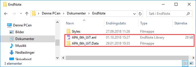 EndNote-biblioteket består av to deler. En .enl-fil og en tilhørende .Data-mappe