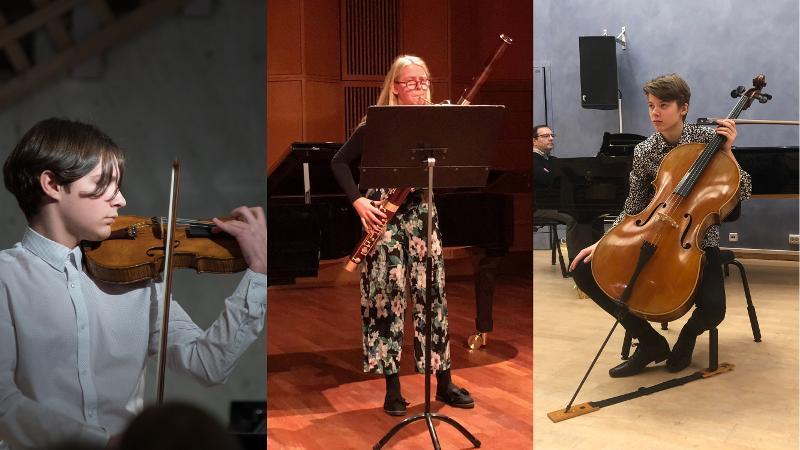 Foto av Dmitrij, fiolin, Solveig fagott og Teo, cello