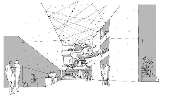 Hvalskjelettet er så stort at det må tegnes plass til det i nytt museum. Her er en foreløpig skisse fra Henning Larsen.