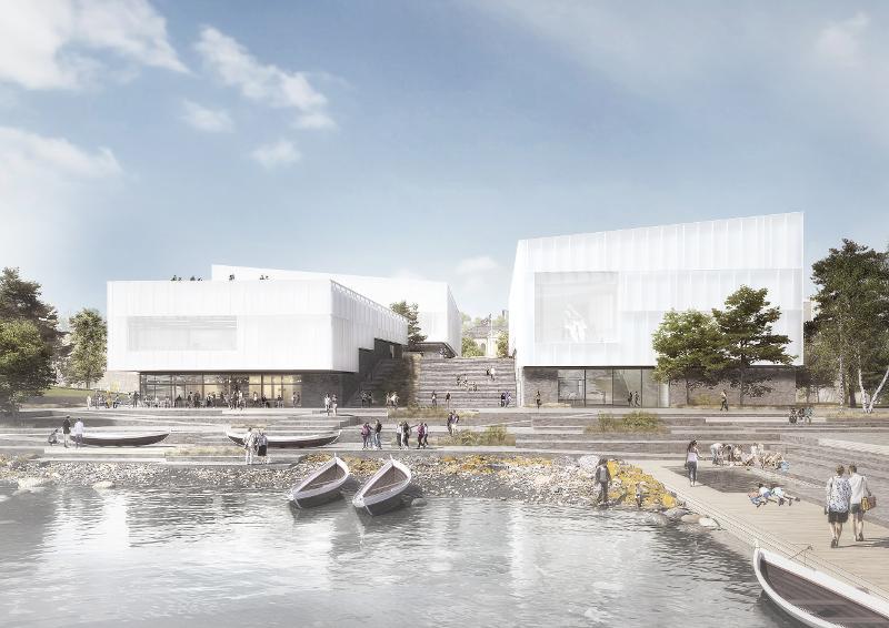 Skisser av det nye museumsbygget av Henning Larsen arkitekter