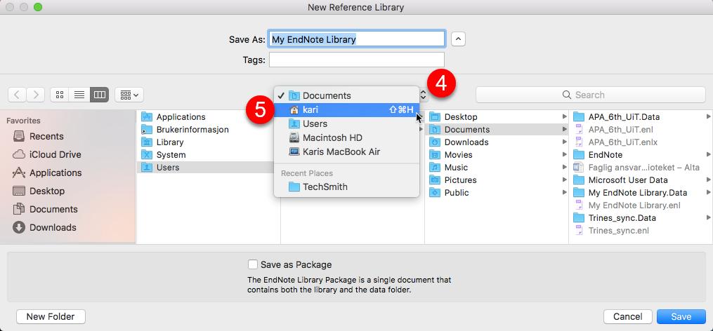Lagring av EndNote-bibliotek på Mac