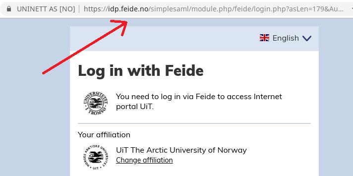 Ekte Feide-URL