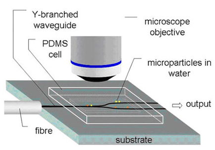 Figure 1. Setup for optical guiding of microscopic particles.
