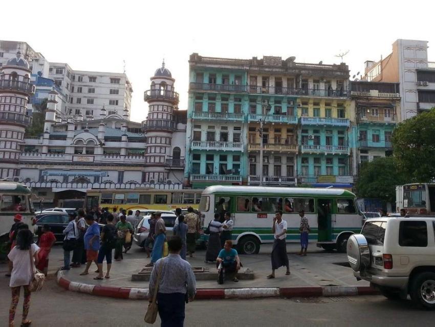 Street scene in Yangon, Myanmar.