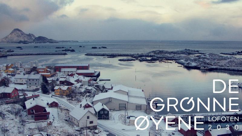Ballstad i Lofoten på vinteren. Hav, fjell og bebyggelse. Foto: Berit Kristoffersen/UiT
