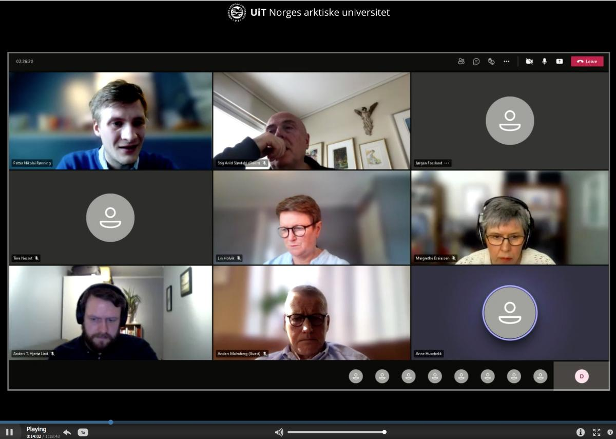 Universitetsstyremøte, skjermdump av digitalt møte