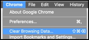 Skjermbilde slett cache med Chrome ved å bruke Clear Browsing Data