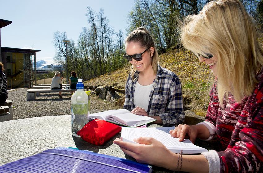 To smilende jenter leser utendørs i sola. Foto: Ingun A. Mæhlum
