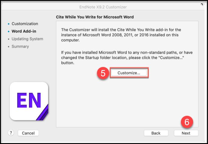 EN fane i Word Mac Customizer