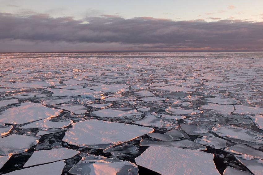 Oppbrukket havis nord for Svalbard.