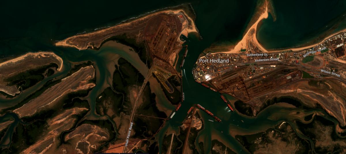 Satellittbilde av Port Hedland, stor utskipningshavn for malm i Australia