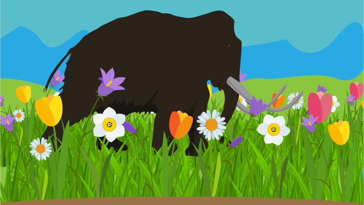 mammut i blomstereng