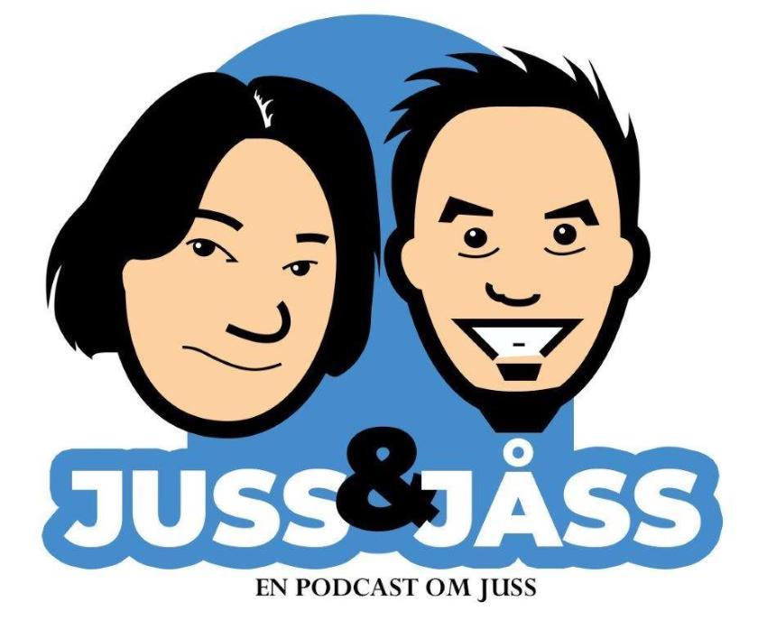Juss & Jåsslogoen, en stilisert tegning av Marius Storvik og Gunnar Eriksen.